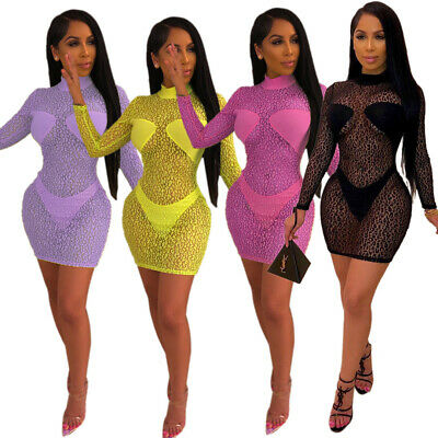7107dba4e7 Sexy New Women Long Sleeves Printed Perspective Bodycon Mini Dress Club  Party