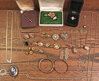 Lot of 37 Vintage Antique Jewelry, Cufflinks, Pins, Necklaces, Bracelets, More!!