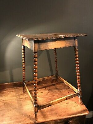 19th Century Bobbin Occasional Pie Crust Square Side Table-Antique-Vintage-lamp