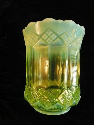 Vintage OPALESCENT VASELINE CARNIVAL GLASS VASE BOWL JAR in DIAMOND PATTERN