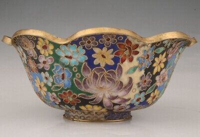 Precious Chinese Cloisonne Handmade Carving Flower Bowl Auspicious Collection