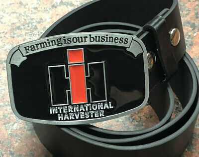 International Harvester logo metal BUCKLE + Free Belt FARMING IS OUR BUSINESS