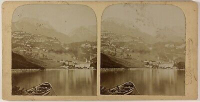 Lac d'Annecy Abbaye de Talloires France Photo Brun & Fils Stereo Citrate c1900