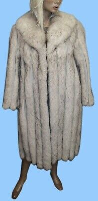size 6 or Small GENUINE BLUE FOX FUR COAT - GREY LEATHER INSERTS - Gorgeous !