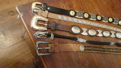 Lot Of 5 Leather Western Rodeo Belts Vintage Contemporary Coins Silver Gold Tone