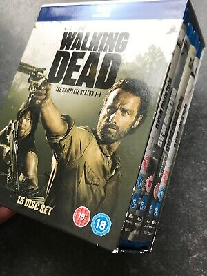THE WALKING DEAD SEASONS 1-4 COMPLETE BLU RAY BOXSET SERIES 1 2 3 4 Watched Once