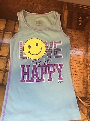 53defb4c1d6 Justice Girls Size 8 Ribbed Tank Top Love To Be Happy Blue Purple Smiley  Face