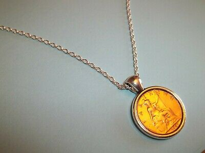 Britannia Farthing Coin Silver Cased Pendant Necklace 1911 - 1936 Pick Your Year