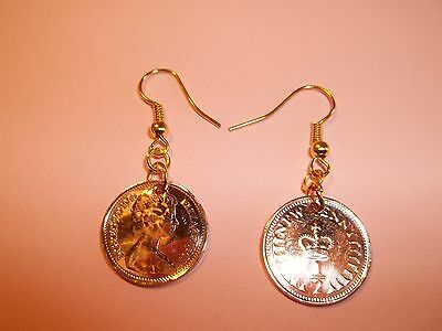 HALF PENCE (HALF PENNY) COIN DROP EAR RINGS - 1971 to 1982 - CHOOSE YOUR YEAR