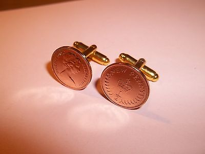 HALF PENCE (HALF PENNY) COIN CUFF LINKS - 1974 - 46th BIRTHDAY