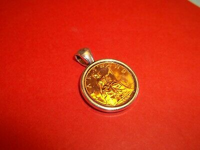 BRITANNIA FARTHING COIN -  SILVER CASED PENDANT - 1911 to 1936 - PICK YOUR YEAR