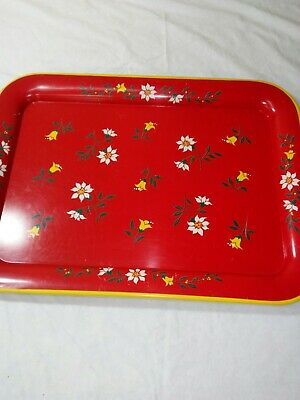 Vintage Metal  Art Tole-ware Floral Painted  Tray Red /Yellow/ White