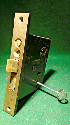 "RUSSWIN #7122 PUSH BUTTON ENTRY MORTISE LOCK w/KEY 6 5/8"" FACE (8908)"