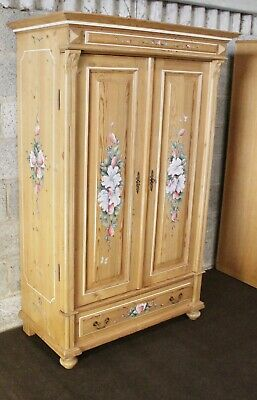 French Antique Stripped Pine Linen Cabinet Wardrobe Armoire