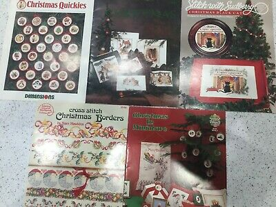 5 Pre-owned Cristmas Themed Cross Stitch Pattern Charts