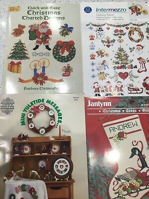 4  Preowned Christmas themed Cross Stitch Charts