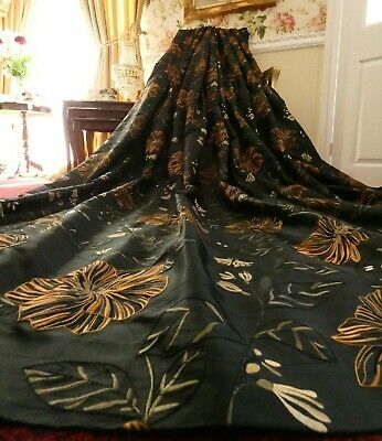 BESPOKE Long Lined CURTAINS Black Orange Embroidered Floral Triple Pleat MTM