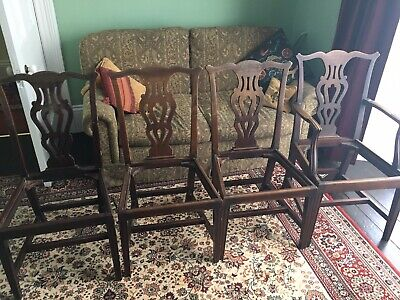 Set Four Georgian Mahogany Dining Chairs