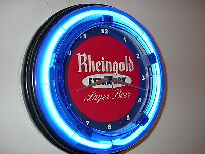 Rheingold Beer Bar Man Cave Blue Neon Advertising Wall Clock Sign