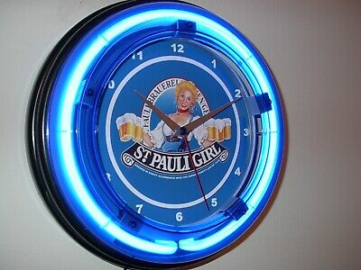 St. Pauli Girl Beer Bar Man Cave Blue Neon Advertising Wall Clock Sign