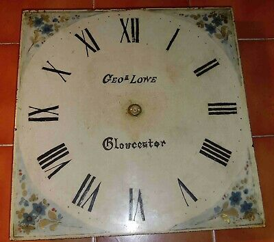 """Antique  Longcase / Grandfather  Clock  Painted  12""""  Square  Dial"""