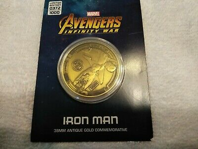 Marvel Avengers:Infinity War -IRON MAN  Gold Coin Ltd to 1000 Licensed