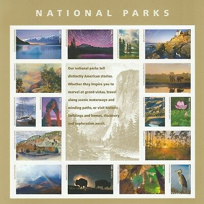 Scott# 5080a-5080p NATURAL PARKS TREASURES 2016 MNH SHEET of 16 FOREVER STAMPS