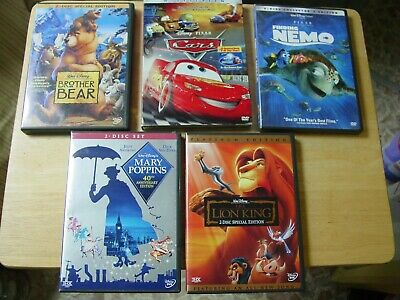Lot of 5 Disney Pixar DVDs Brother Bear Cars Finding Nemo Lion KIng Mary Poppins