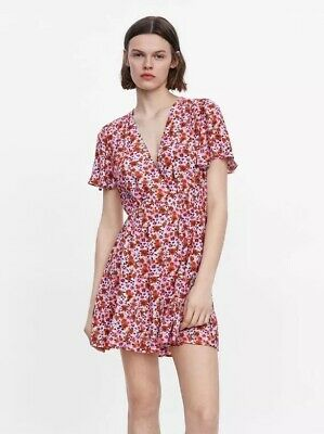 246493d6f9 Zara Pink Red Dress Floral Print Dress Xs S Sold Out Bloggers Favourite