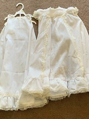 Gorgeous Vintage Embroidered Christening Gown With Slip