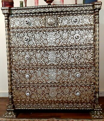 Orientalist Unique Art Ottoman Mother Of Pearl & Bone Inlay Dresser Arabic Islam