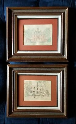 Pair Of Framed Colonial Williamsburg Handpainted Watercolors Local Artists 1984