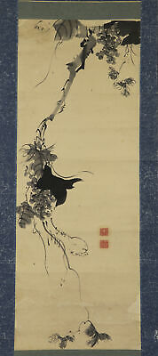 """JAPANESE HANGING SCROLL ART Painting """"Grape"""" Asian antique  #E7777"""