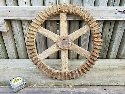 "Large extra rusty and worn gear sprocket 44 lbs 20"" across metal art rustic"