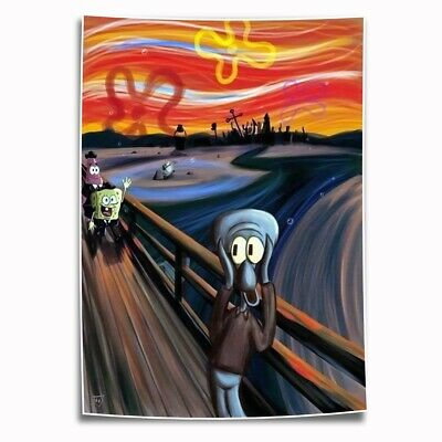 The Scream SpongeBob painting HD Print on Canvas Home Decor Wall Art Pictures