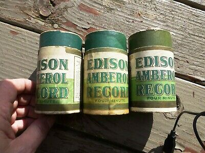 3x Edison WAX Amberol 4 Minute CYLINDER CONTAINER