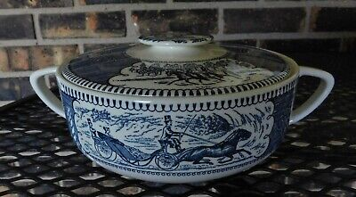 Currier And Ives Royal China COVERED Casserole Dish Blue Dinnerware
