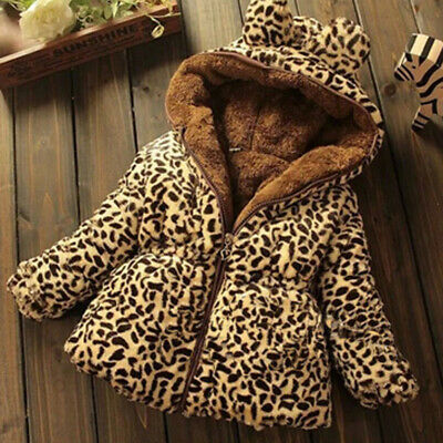 Toddler Kids Baby Girls Hooded Outwear Leopard Print Coat Newborn Winter Clothes