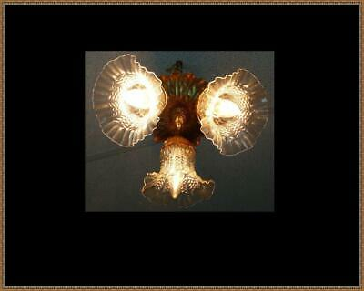 Vintage Ceiling Light Fixture Chandelier Clear Glass Shades 3 Light Rewired LQQK