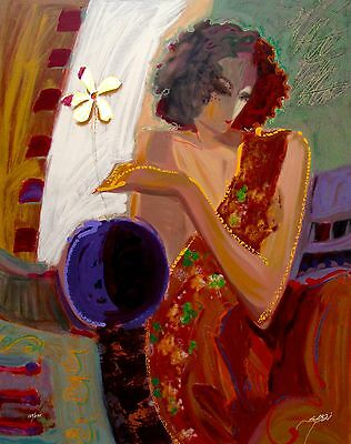 """SABZI """"EXOTIC FLOWER"""" Hand Signed Limited Edition Giclee on Art Canvas"""