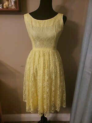 ac2ec953d3830 Vintage 1950s Pastel Yellow Lace Sleeveless Swing Dress Easter Spring  Rockabilly