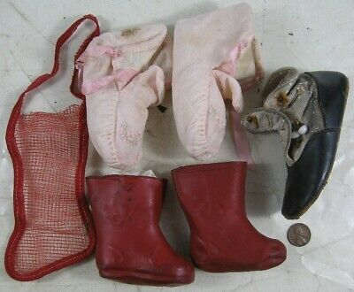 Lot of Vintage Antique 1930's Baby & Doll Shoes