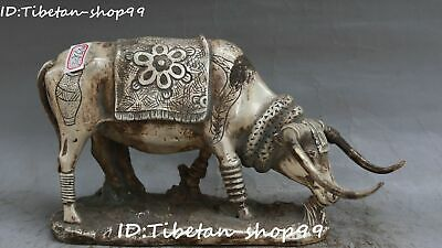 China Old Silver Fengshui Ox Oxen Cattle Bull Niu Cow Animal Beast Flower Statue