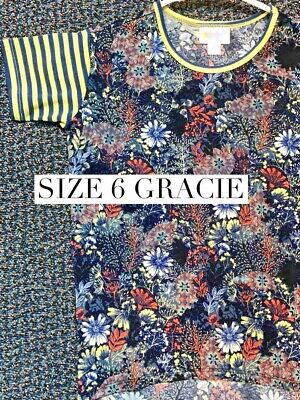 LuLaRoe Girls Size 6 Floral Striped Sleeves Yellow Navy Blue Gracie Top NWT