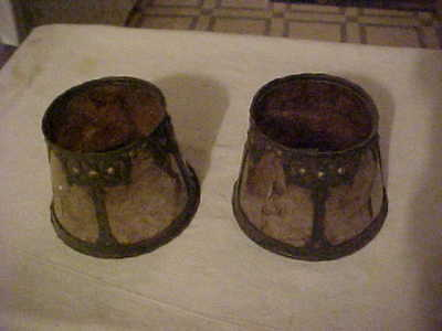 Pair of Arts & Crafts Stickley Mission Era Mica Candle Lamp Shades Delaminating