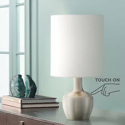 Modern Table Lamp Brushed Steel Touch On White Drum Shade for Living Room Desk