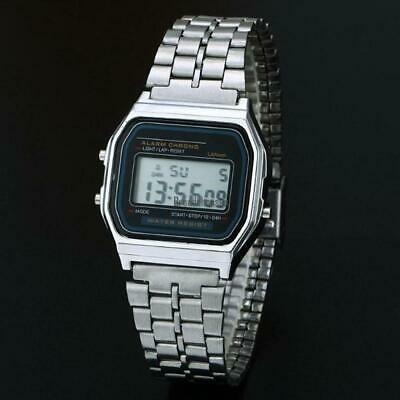 Men Stainless Steel Band LCD Digital Wrist Watch Sport Square Quartz BRCE 07