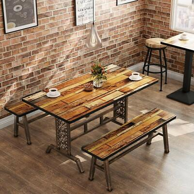 Rustic+Antique Bronze 3 Pieces Dining Set Home Kitchen Table &Benches Metal Base