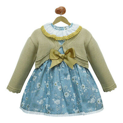 Baby Girl Floral Dress with Beige Cardigan . Spanish fashion.