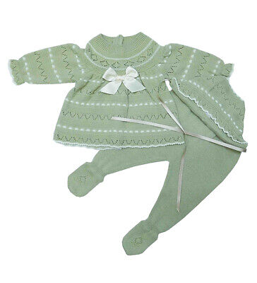Baby Knit Set Colour Sand and Beige. Made in Spain.